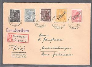 Berlin, R-Fernbrief mit MiF. Mi.-Nr. ex. 1-11, sign. SchlegelBPP: