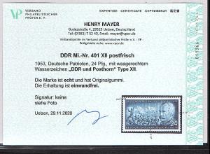 DDR. Mi.-Nr. 401 XII postfrisch, Befund Mayer