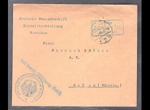 DR. Konsulat-Brief von Warschau nach Gmünd durch Auswärtiges Amt über Berlin.
