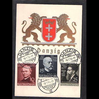 Danzig, Mi.-Nr. 306 - 308 auf Karte