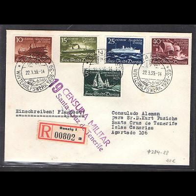 Danzig, R-Ausland-Satzbrief Mi.-Nr. 284-288 mit Militar-Zensur.