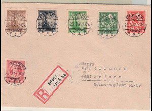SBZ-Thüringen Mi.-Nr. 92 - 97 U auf R-Brief, FA. StröhBPP.