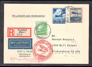 DR., Zeppelin-Karte, Nordamerikafahrt mit MiF. Mi.-Nr. 529 + 603 + 606