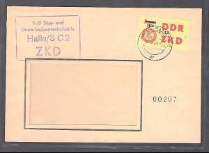DDR. Dienslaufkontrollzettel Mi.-Nr. 52 XII EF. auf Brief.