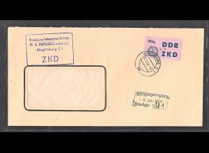 DDR. Dienslaufkontrollzettel Mi.-Nr. 55 III EF. auf Brief.
