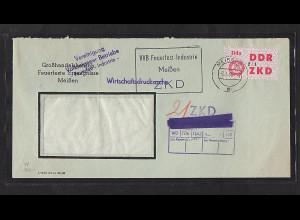 DDR. Dienslaufkontrollzettel Mi.-Nr. 48 I EF. auf Brief.