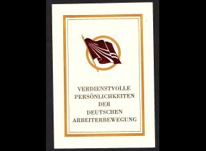 DDR - Gedenkblatt, Verdienstvolle Persönlichkeiten der deutschen...... B1-1985