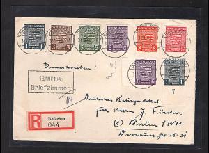 SBZ.-Provinz Sachsen, R-Fernbrief mit Mi.-Nr. 66-71 mit 2x 69 b, sign. Dr. Jasch