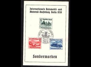 DR. Inter. Automobil und Motorradausstellung Berlin1939 mit Mi.-Nr. 686-688, FDC