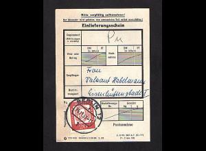 Berlin, EF. Mi.-Nr. 204 auf Einlieferungsschein.