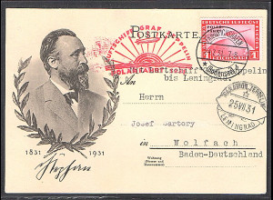Zeppelin-Karte, Polar-Fahrt mit Mi.-Nr. 456