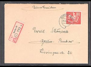 DDR., R-Fernbrief mit EF. Mi.-Nr. 272 ( Marke aus Block 7), AK-St.