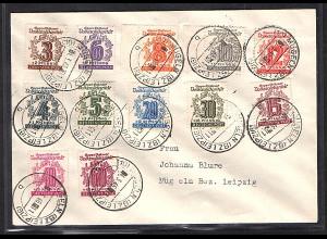 SBZ., West-Sachsen Mi.-Nr. 138-149 auf Satzbrief.
