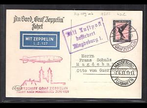 Zeppelin-Karte mit EF. DR. Mi.-Nr. 382 Magdeburg Fahrt