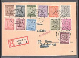 SBZ-West Sachsen, R-Fernkarte mit komplette Satz Mi.-Nr. 128-137 X