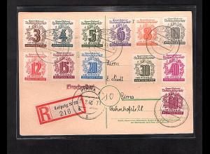 SBZ-West Sachsen, R-Fernkarte mit komplette Satz Mi.-Nr. 138-149