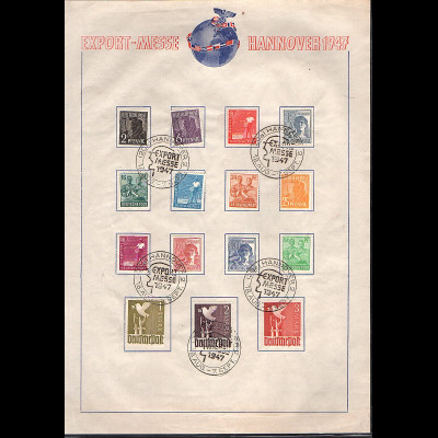 All.Besetzung, Gedenkblatt Hannover Export-Messe 1947, mit Mi.-Nr. 961 I