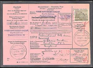 Berlin, EF. Mi.-Nr. 53 auf Auslandspostanweisung