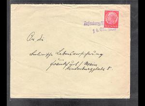 Dt. Gebiete, Sudetenland, Fernbrief von Rosenberg/Moldau 14.0ct.1938