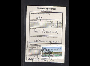 BRD, Frankierte Einlieferungsschein mt EF. ATM. 80 Pfg.