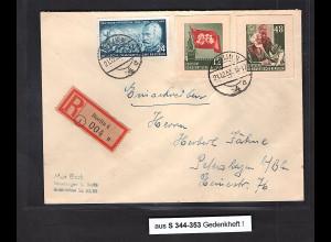 DDR., R-Fernbrief mit Marken aus Karl-Marx Gedenkheft S 344-353, portorichtig.