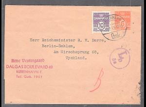 Danmark, Streifband-GS. an Reichminister R.W. Darre, von 6.2.41, zensiert