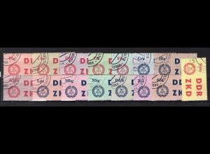 DDR - Laufkontrollzetell des ZKD, Mi.-Nr. 1-15 Ungultig gestempelt.