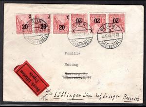 DDR - Proprgandafälschung Mi.-Nr. 7 ua. auf Eilbote-Brief mit AK-St.