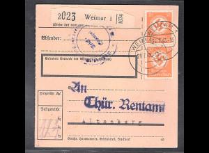 DR. Mi.-Nr. D 143 MeF. auf Paketkarte