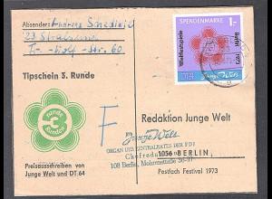 DDR Spendenmarke 2 auf Karte gestempelt, Mi. 90 €.