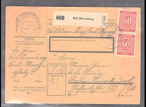 All.Bes./Gemeinsch.Ausg. Paketkarte mit MeF. Mi. 933 aus Dürrenberg 02.9.46