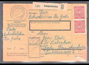 All.Bes./Gemeinsch.Ausg. Paketkarte mit MeF. Mi. 933 aus Langensalza 19.9.46.