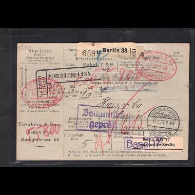 DR., Ausland-Paketkarte mit Gebühr bezahlt aus Berlin/Selbstbucher
