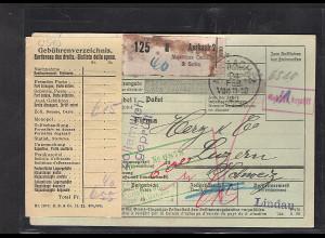 DR., Ausland-Paketkarte mit Gebühr bezahlt aus Ansbach/Selbstbucher
