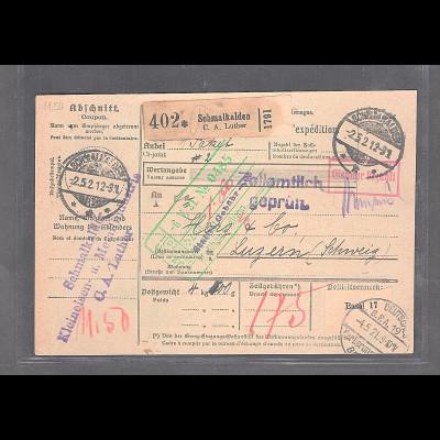 DR., Ausland-Paketkarte mit Gebühr bezahlt aus Schmalkaden/Selbsbucher
