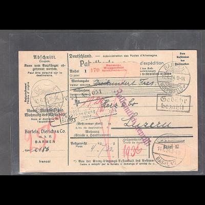 DR., Ausland-Paketkarte mit Gebühr bezahlt aus Barmen-Wupperfeld/Selbstbucher