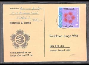 DDR Spendenmarke 2 auf Tipschein gestempelt, Mi. 90 €.