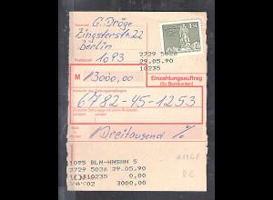 DDR.Einzahlungsauftrag mit EF. Mi.-Nr. 1968