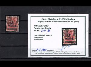 DR, Mi.-Nr. 309 Ba gestempelt, KB. WeinbuchBPP.