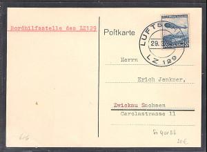 DR., Zeppelin-Karte, LZ 129 mit EF. Mi.-Nr. 606