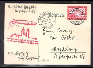DR., Zeppelin-Karte, Fahrt nach Magdeburg 1931 mit EF. mi.-Nr. 455