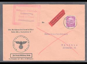 DR., Portofreie Eilbote-Fernbrief mit EF. 40 Pf. Hindenburg von 20.11.39