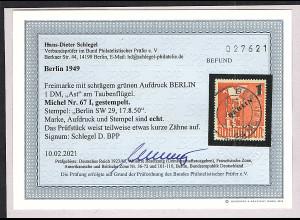 Berlin Mi.-Nr. 67 I gestempelt, Befund SchlegelBPP.
