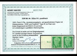 DDR. Mi.-Nr. 322za XI L postfrisch, Befund Mayer.
