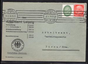 DR. Mischfrankatur Dienst Mi.-Nr. 115 + 8 Pfg Hindenburg.