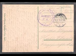 Malmedy, Feldpostkarte von 30.3.16 nach Halle mit seltenem viol. Zensurstempel.