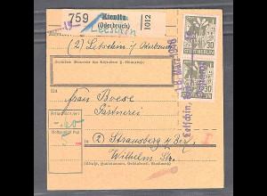 SBZ, Mi.-Nr.7 Aa wbz MeF. auf Paketkarte mit Not-Stempel Letschin.