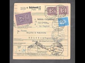 DR., Ausland-Paketkarte nach Belgrad mit Lagergebühr Marken