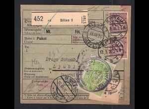 DR., Ausland-Paketkarte nach Ljubljana mit Lagergebühr Marken